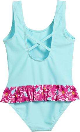 Costum de baie intreg, protectie UV 50+_fete_Turcoise/Flamingo1
