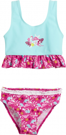 Costum de baie 2 piese, protectie UV 50+_fete_Turcoise/Roz/ Flamingo0