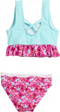 Costum de baie 2 piese, protectie UV 50+_fete_Turcoise/Roz/ Flamingo1