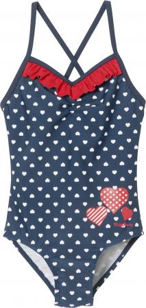 Costum baie intreg, protectie UV50+, fete, Bleumarin/Rosu/Inimi [0]