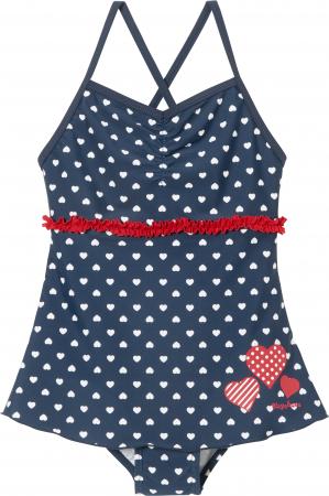 Costum baie intreg cu fusta, protectie UV 50+, fete, Bleumarin/Rosu/Inimi [0]