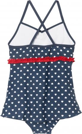 Costum baie intreg cu fusta, protectie UV 50+, fete, Bleumarin/Rosu/Inimi [1]