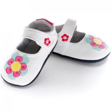 Pantofi casual, piele, fete, Alb/Floare, Isla0