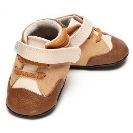 Pantofi sport, piele, baieti, Maro/Crem, Bradely [0]