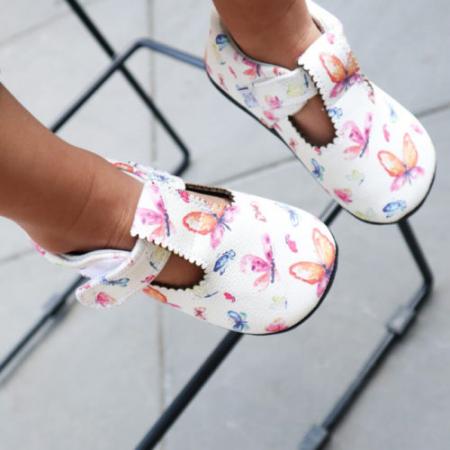 Pantofi casual, piele, fete, Alb/Fluturi, Mona [1]