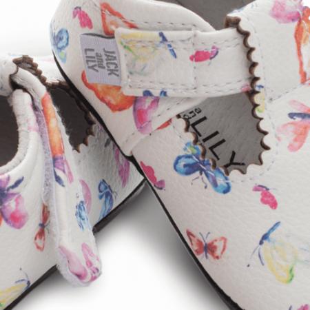 Pantofi casual, piele, fete, Alb/Fluturi, Mona [2]