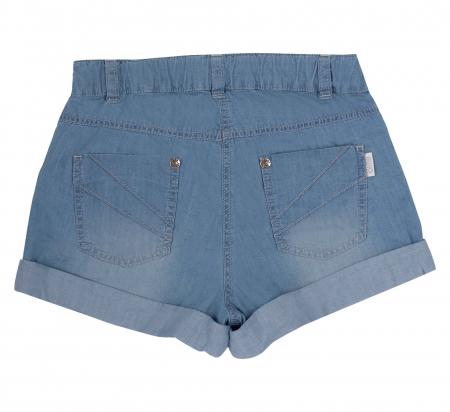 Pantalon scurt cu buzunare, subtire, jeans, fete, Albastru [1]