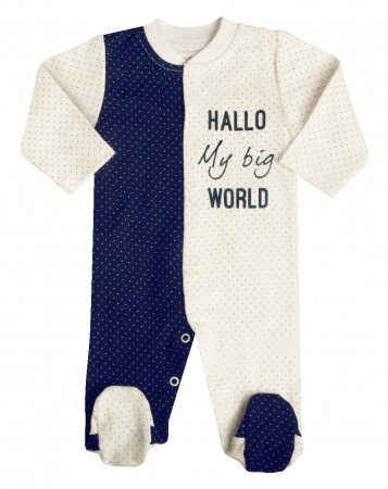 Pijama tip salopeta intreaga cu talpa bumbac organic100%_ Alb/Blue navy cu buline_September0