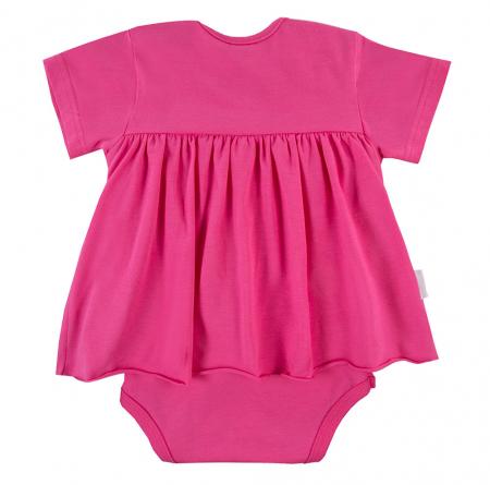 Body tip rochita cu maneca scurta, bumbac 100%, roz, Coral1