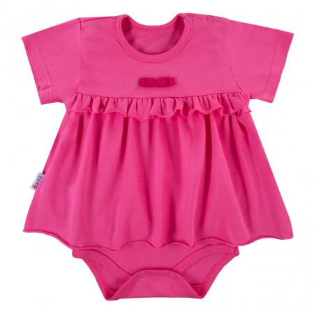 Body tip rochita cu maneca scurta, bumbac 100%, roz, Coral0