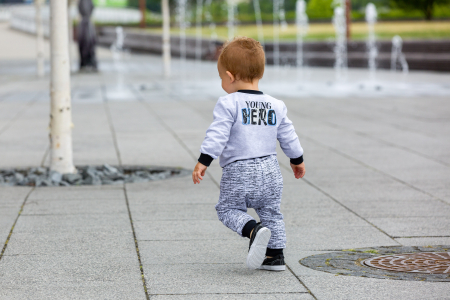 Pantalon trening, Gri/Negru, Young Hero0