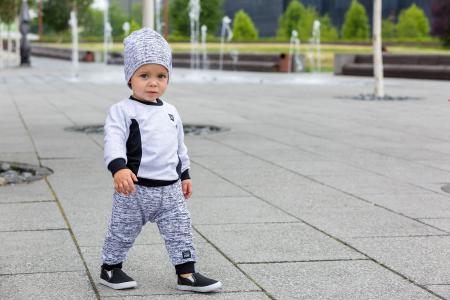 Pantalon trening, Gri/Negru, Young Hero1