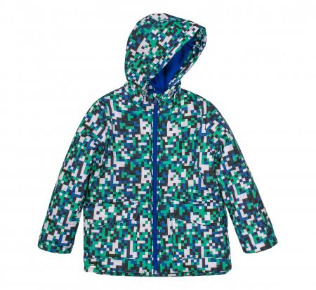 Jacheta groasa cu gluga, element reflectorizant, baieti, Verde/Albastru0