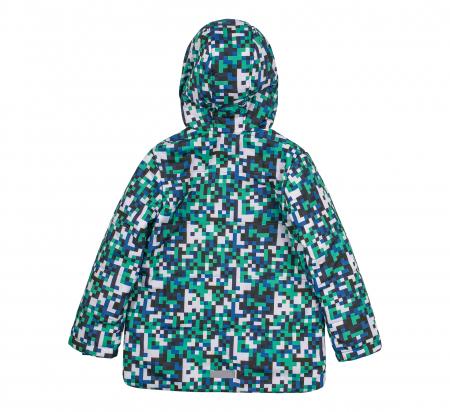 Jacheta groasa cu gluga, element reflectorizant, baieti, Verde/Albastru2