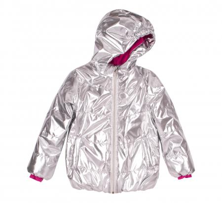 Jacheta groasa cu gluga, fete, Argintiu metalic0
