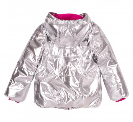 Jacheta groasa cu gluga, fete, Argintiu metalic3