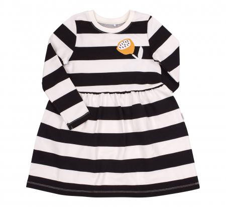 Rochie cu maneca lunga, fete, Dungi, Alb/negru0