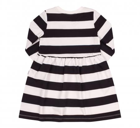 Rochie cu maneca lunga, fete, Dungi, Alb/negru1
