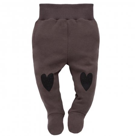 Pantaloni pijama cu talpa, 100% bumbac, Maro, Little bird0