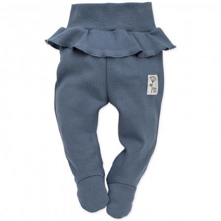 Pantalon pijama cu talpa bumbac 100%_Petit Lou_albastru0