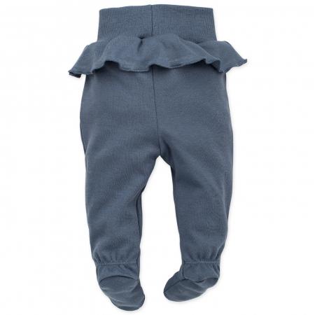 Pantalon pijama cu talpa bumbac 100%_Petit Lou_albastru1