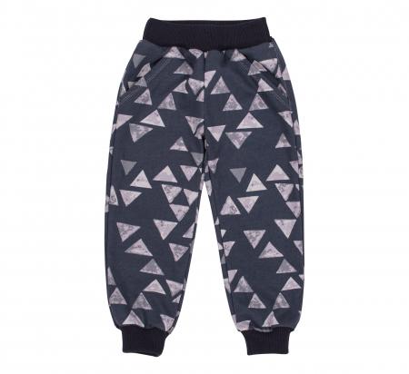 Pantalon trening cu buzunare, baieti, Gri triunghiuri0