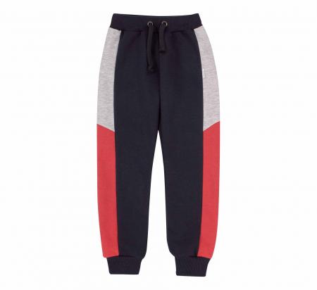 Pantalon lung trening, baieti, Gri petrol/Rosu gri0