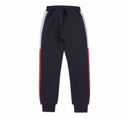 Pantalon lung trening, baieti, Gri petrol/Rosu gri1