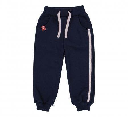 Pantalon trening cu buzunare, baieti, Albastru/Dunga gri0