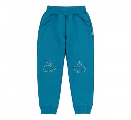 Pantalon lung cu buzunare, fete, Turcoaz/Iepuras [0]
