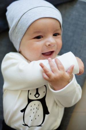 Caciula bebe, bumbac 100%, baieti, Gri1