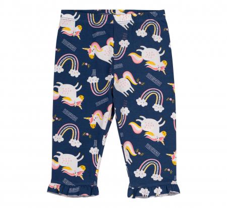 Compleu, tricou cu maneca scurta si pantalon leggings 3/4, bumbac 100%, fete, Roz,Bleumarin/Unicorni [3]