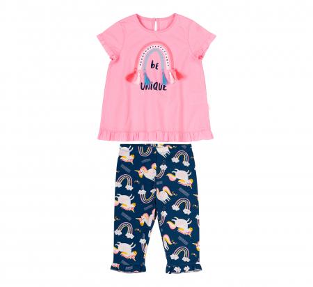 Compleu, tricou cu maneca scurta si pantalon leggings 3/4, bumbac 100%, fete, Roz,Bleumarin/Unicorni [0]