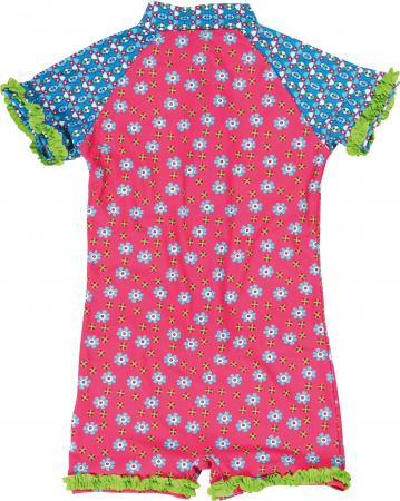 Costum baie tip salopeta intreaga, protectie UV50+, fete, Roz, Albastru/Flori [1]