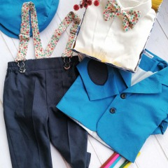 Costum de botez cu bretele si papion, Bumbac 100%, Albastru, Romeo2