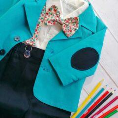 Costum de botez cu bretele si papion, Bumbac 100%, Bleu, Romeo [2]