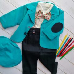 Costum de botez cu bretele si papion, Bumbac 100%, Bleu, Romeo [0]
