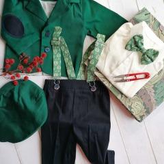 Costum de botez cu bretele si papion, Bumbac 100%, Verde/Bleumarin, Romeo1