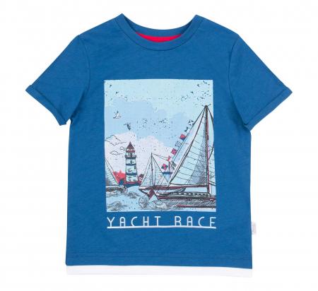 Tricou cu maneca scurta, bumbac 100%, baieti, Albastru/Yacht [0]