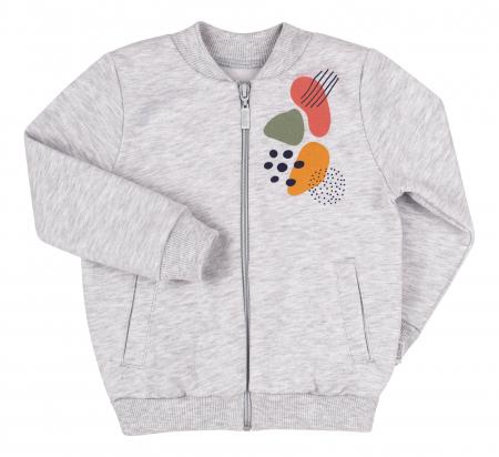 Bluza trening cu fermoar si buzunare, fete, Gri/Imprimeu colorat [0]