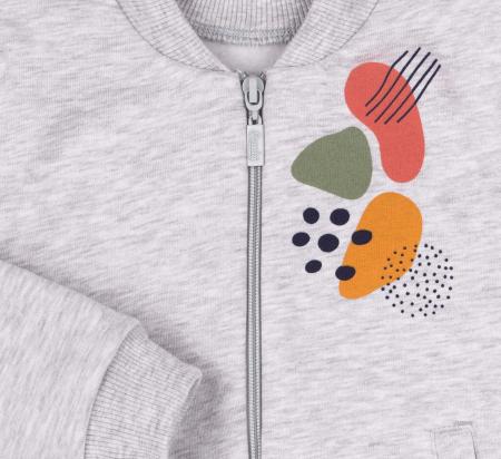 Bluza trening cu fermoar si buzunare, fete, Gri/Imprimeu colorat [2]