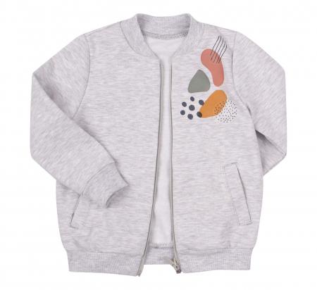 Bluza trening cu fermoar si buzunare, fete, Gri/Imprimeu colorat [1]
