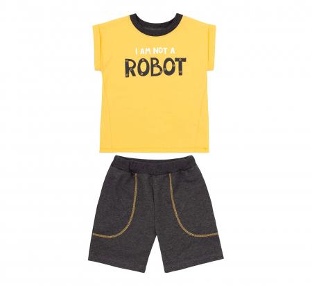 Compleu; tricou cu maneca scurta si pantalon scurt cu buzunare, bumbac 100%, baieti, Galben/Gri [0]