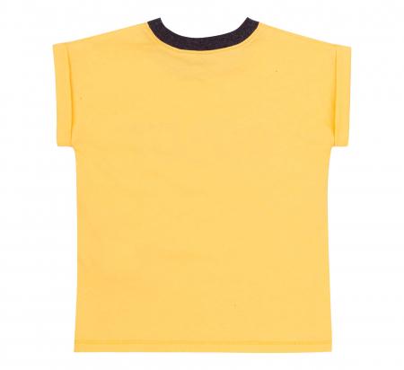 Compleu; tricou cu maneca scurta si pantalon scurt cu buzunare, bumbac 100%, baieti, Galben/Gri [3]