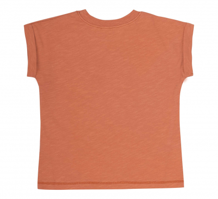 Compleu; tricou cu maneca scurta si pantalon scurt cu buzunare, bumbac 100%, baieti, Caramiziu/Gri [3]