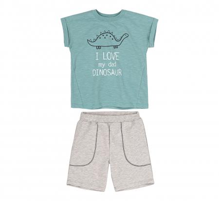 Compleu, tricou cu maneca scurta si pantalon scurt cu buzunare, bumbac 100%, baieti, Verde/Gri [1]