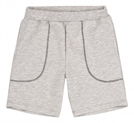 Compleu, tricou cu maneca scurta si pantalon scurt cu buzunare, bumbac 100%, baieti, Verde/Gri [3]