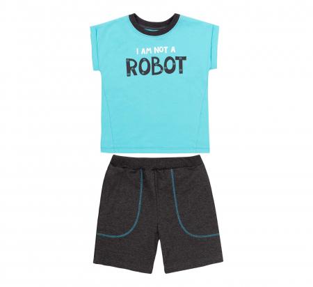 Compleu, tricou cu maneca scurta si pantalon scurt cu buzunare, bumbac 100%, baieti, Aqua/Gri [0]