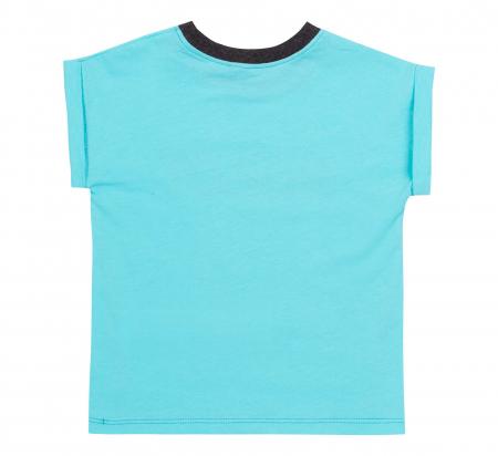 Compleu, tricou cu maneca scurta si pantalon scurt cu buzunare, bumbac 100%, baieti, Aqua/Gri [3]