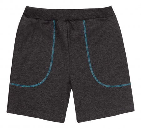 Compleu, tricou cu maneca scurta si pantalon scurt cu buzunare, bumbac 100%, baieti, Aqua/Gri [2]